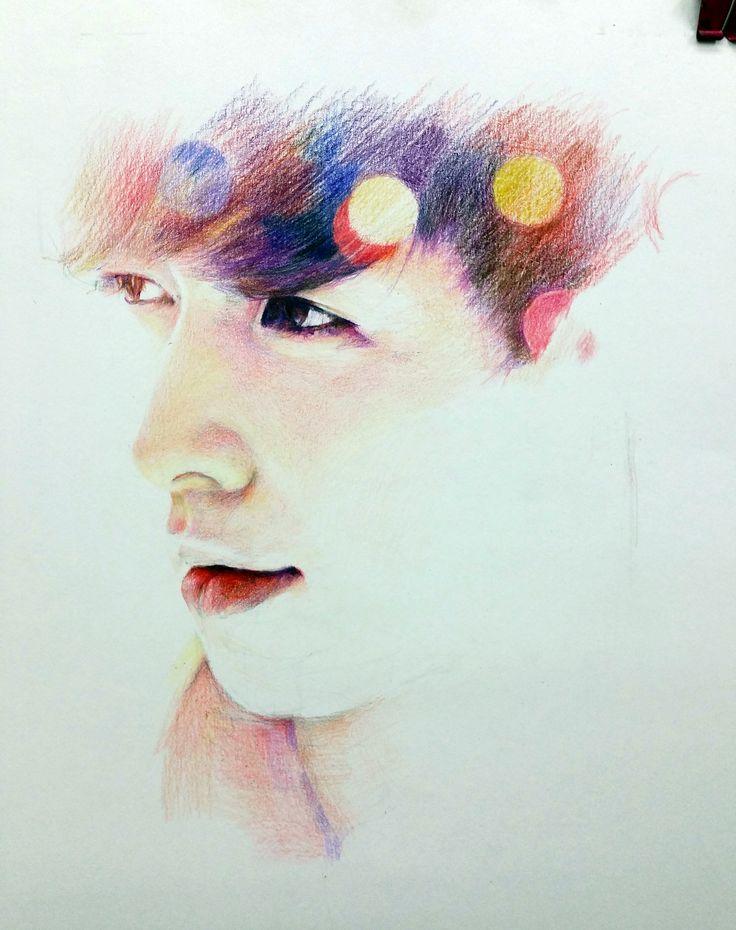 EXO 레이 습작 유성프리즈마 색연필, 형태 안그리고 색감 넣으면서...