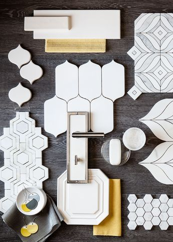 White and grey with a touch of yellow make a snappy modern statement. This collage of Walker Zanger tile features the many shapes in white we offer in our 6th Avenue, Studio Moderne, Tribeca, Jet Set and Tangent collections in  marble and ceramic tile. The background is our Statale Fumo wood look porcelain. Imagine the possibilities...