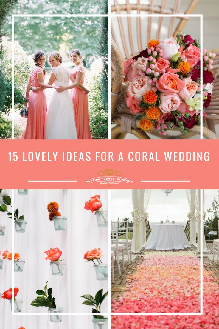 A coral wedding theme comes in different 'shapes and sizes': the popular beach vibe, a daring combination of navy blue and coral, contrasting city settings and even a bit of bohemian sensibility. One thing is clear, a coral wedding theme is definitely versatile. And if we can believe the Pinterest trends, a very popular wedding theme too! It's still early Spring, but the days are getting warmer and brighter, and that sets us in the mood for something cheerful and colorful. Enjoy!
