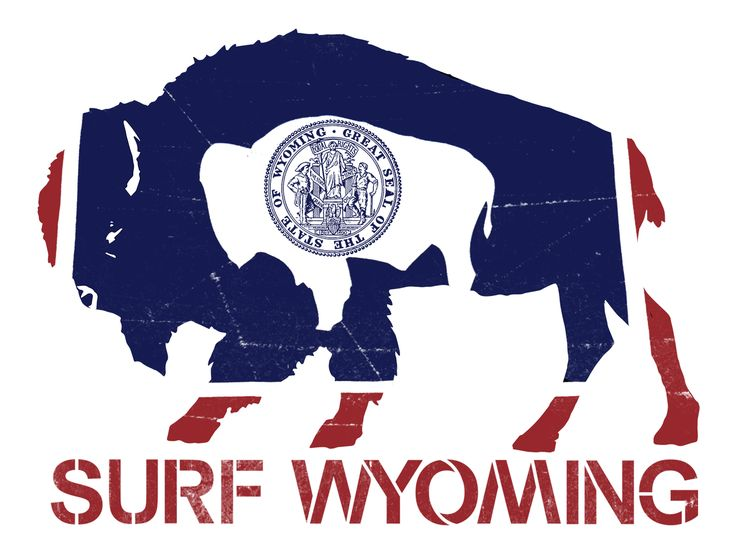 Flag bison sticker by surf wyoming