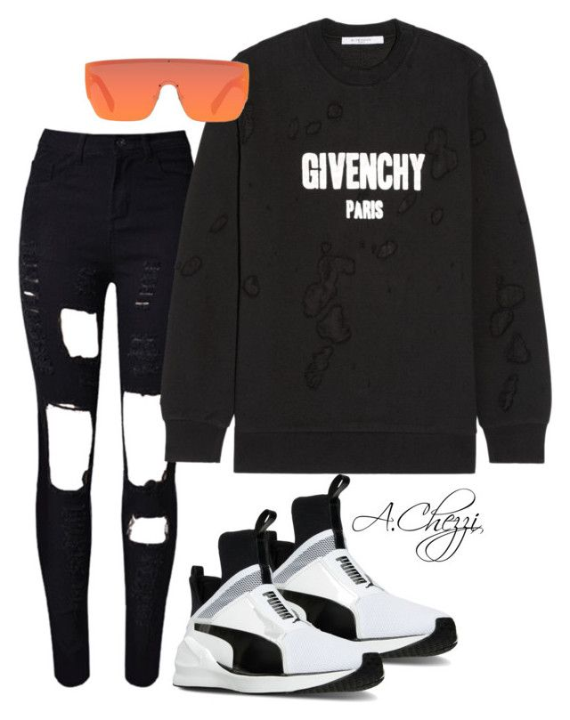 """Untitled #233"" by alyssachezzi on Polyvore featuring WithChic, Givenchy, CÉLINE and Puma"