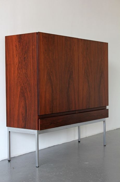 Dieter Waeckerlin; #B40 Rosewood and Steel Highboard for Behr Möbel, 1958.