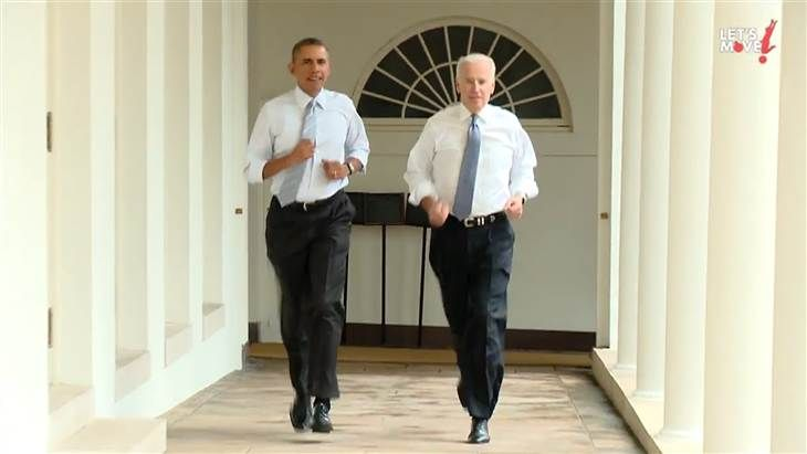 """Obama, Biden show their moves in run around the White House ---> he last time President Obama and Vice President Joe Biden ran together, it was for re-election in 2012.   But Thursday night, First Lady Michelle Obama's """"Let's Move!"""" campaign released a video of the president and VP showing off their moves, going for a jog around the White House. (February 28)"""