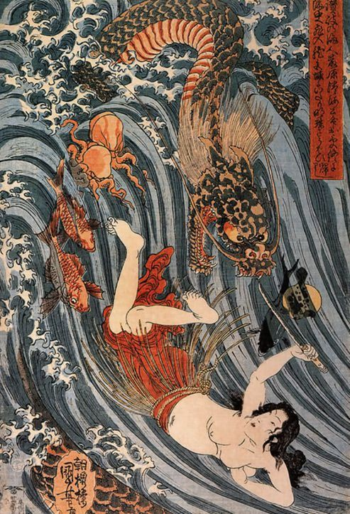 """ Princess Tamatori steals Ryūjin's tide jewels, by artist Utagawa Kuniyoshi. About 1840's, Japan """