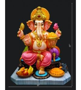 Shop Ganesh Statue With Mantra Available Online In India At Low Cost. Lord Ganesh Murti Built upon Material type like Marine Plywood & Antique fibers.  Free shipping to India.Online  http://www.krafthub.com/idols/statues/prashad-ganesh-colourfull-big.html