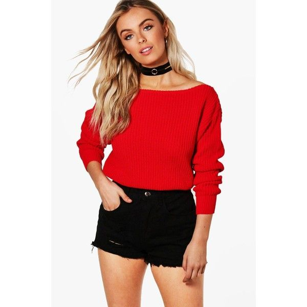 Boohoo Natalie Slash Neck Crop Fisherman Jumper ($10) ❤ liked on Polyvore featuring tops, sweaters, red sweater, sequin crop tops, red sequin sweater, red cropped sweater and cropped knit sweater