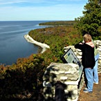 Door County, WI. Between Lake Michigan and Green Bay. Cool restaurants, shops, lighthouses, and scenery!