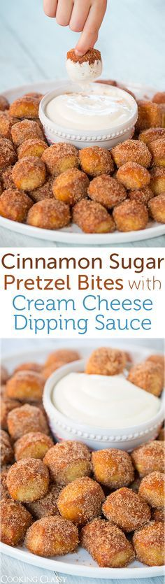 Copycat Auntie Anne's Cinnamon Sugar Pretzel Bites with Cream Cheese Dipping Sauce - I used to always get Auntie Anne's pretzel nuggets at the mall and these taste just like them!