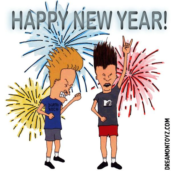 HAPPY NEW YEAR! MORE Cartoon & TV images http://cartoongraphics.blogspot.com/ ~And on Facebook~ https://www.facebook.com/dreamontoyz  MTV's Beavis & Butt-Head with fireworks #Greeting #Holiday
