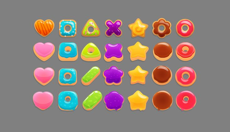 "Assets for the game ""Donuts Go Crazy"" by Space Inch."