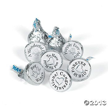 "Mini Chocolate Wedding Stickers are so easy! Just apply the wedding stickers to your own chocolate candy for a fun treat at your wedding reception or party. The labels read ""To Have and To Hold"", ""Happily Ever After"", ""Best Wishes"", ""A Wonderful Day"", ""Love Is Forever"" and ""Congratulations"". (88 stickers per sheet, 10 sheets per unit) 3/4"" $6.00"