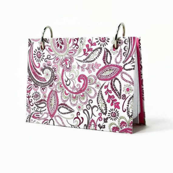 3 x 5 index card binder, pink paisley, mini note journal, address book index card holder with a set of tabbed dividers