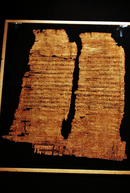 "1st C. BCE. A single Greek word, Ginesthoi, or ""Make It So,"" at the bottom of a papyrus may have been written by the Egyptian Queen Cleopatra VII. It grants tax exemption for sale of 300 tons of wheat in exchange for 34,000 gallons of Roman wine by an associate of Marc Antony. An internal administrative note intended for a bureaucratic official prepared by court scribes, the approval of an edict is said to be only possible by Cleopatra herself. It was reused and found in a mummy case."