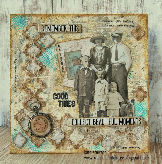 "Vintage Family Photo Canvas created for Simon Says Stamp Monday Challenge ""You've Got The Edge"""