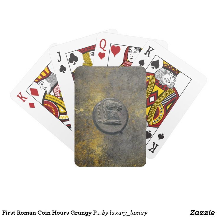 First Roman Coin Hours Grungy Playing Cards