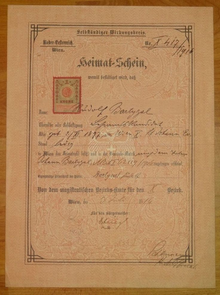 Nationality certificate 1916