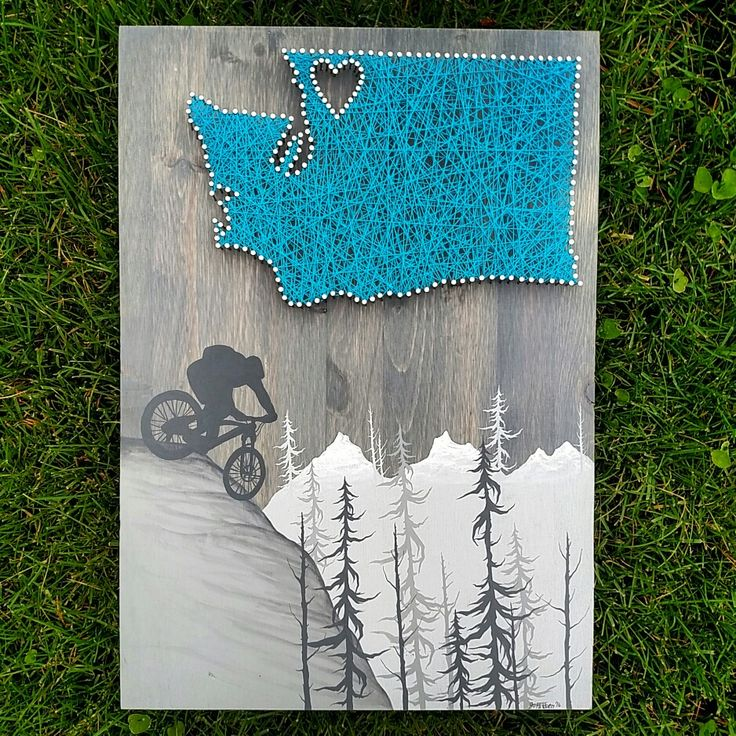 State string art with hand painted mountain bike scence. thewoollybugger.etsy.com
