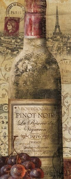 """European Wines II"" by Veronique Charron - Bourgogne Pinot Noir Vintage Wine Bottle Art Typography #grapes #cCreams"