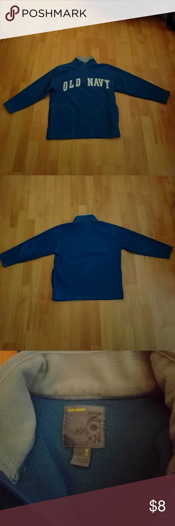 Boys Old Navy Half-Zipper Fleece This boys Old Navy brand pull- over, half zipper fleece is perfect for fall into the winter seasons. It has no flaws.and is blue and grey in color. Old Navy Jackets & Coats