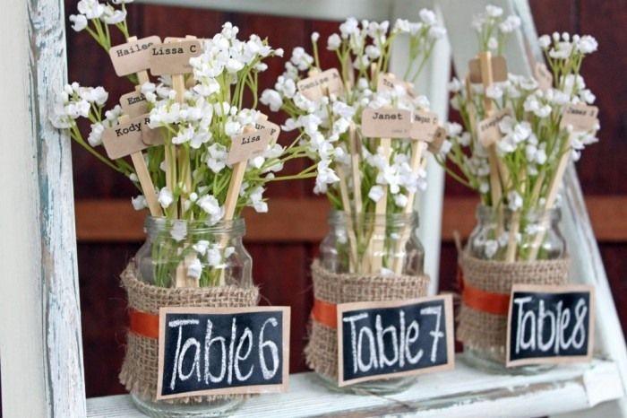 idée plan de table mariage original et numéros de tables avec pots en verre et toile de jute