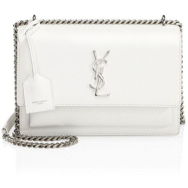 Saint Laurent Medium Sunset Grained Leather Silver Chain Bag ($2,290) ❤ liked on Polyvore featuring bags, handbags, shoulder bags, silver handbags, white shoulder bag, silver shoulder bag, white handbag and white shoulder handbags