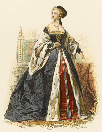 1530s. The colors are understated but lovely, and the drapery is likewise lovely. I'm not a huge fan of huge dresses, but I love how symetrical thisall looks.