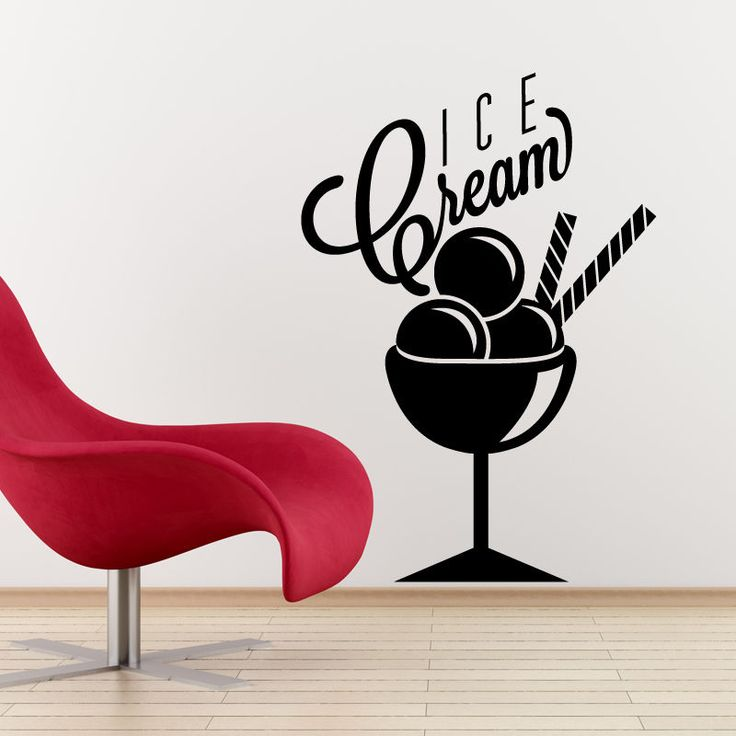 Ice cream wall sticker vinyl decal catering cafe kitchen food sign r10