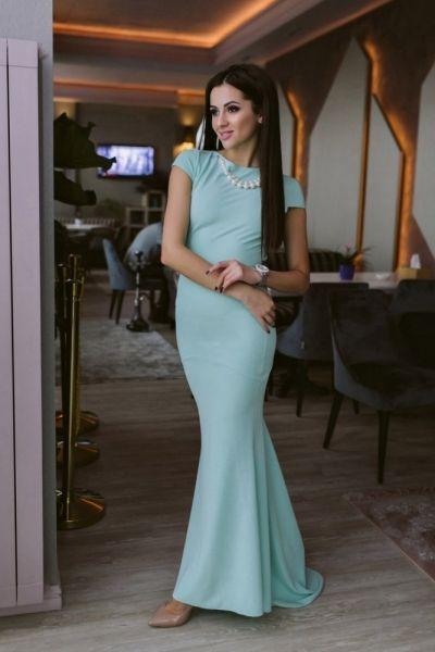 Нежное платье в пол с короткими рукавами ментоловое