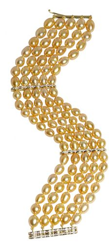 18K yellow gold five strand golden baroque pearl bracelet