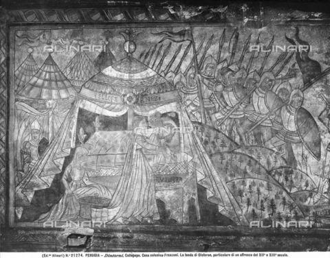 La tenda di Oloferne, particolare del ciclo di affreschi con scene di battaglia, collocati in una casa privata, forse antico refettorio di un convento, presso Collepepe, nei dintorni di Collazzone, in provincia di Perugia, 1920 - 1930 ca., Archivi Alinari-archivio Alinari, Firenze