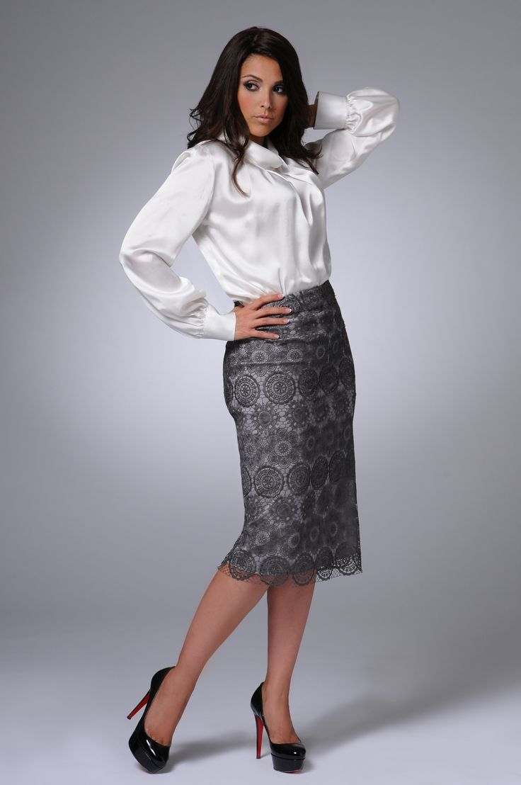 black and white pencil skirt white satin blouse sheer pantyhose and