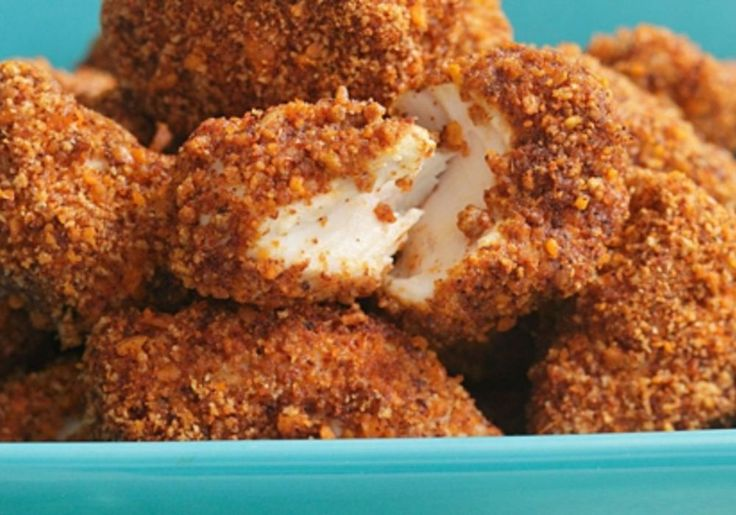 These spicy and crunchy pecan-crusted chicken nuggets are paired with a quick, creamy ranch dip. If you can't find coarse breadcrumbs, substitute Grape-Nuts...