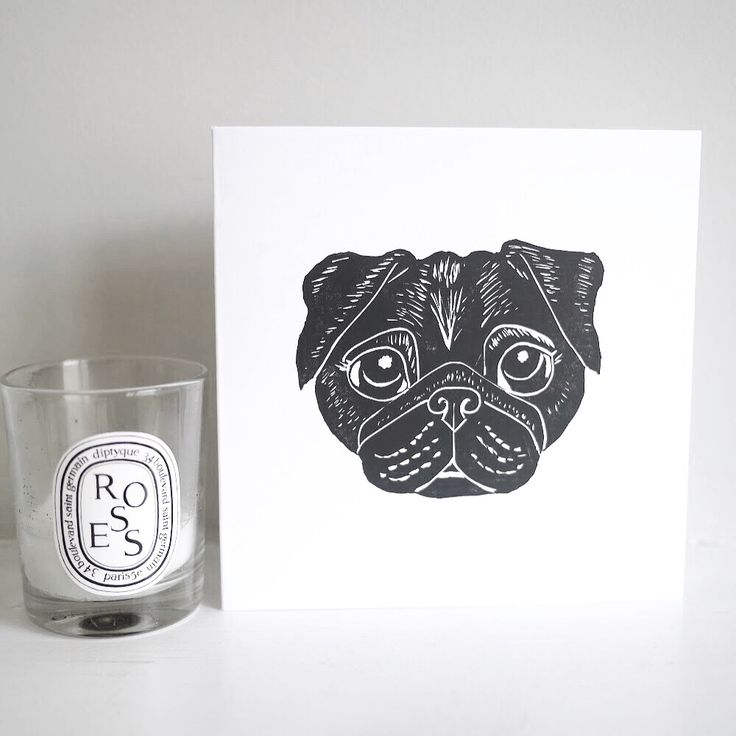 Betty black pug lino print lino cut card hand printed card