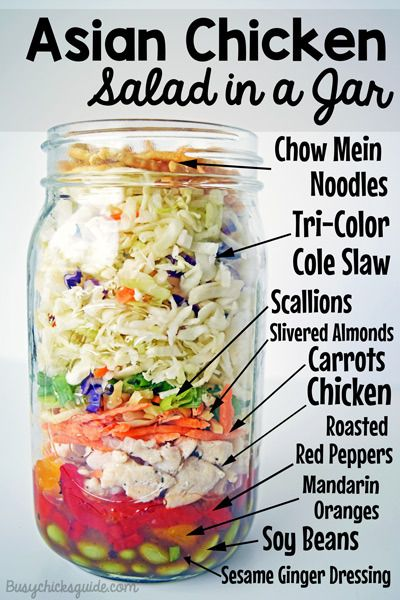 This Asian Chicken Salad in a Jar is a protein powerhouse  with both chicken and steamed edamame piled onto a crunchy bed of shredded carrots and cabbage and toppings that add tons of flavor without all the calories. You can make it ahead for a quick, easy, and healthy lunch on the go!