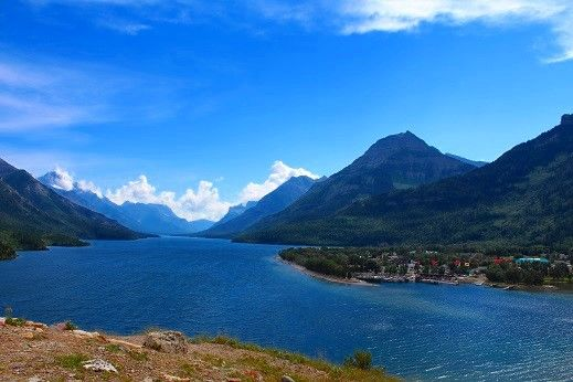 View of the town of Waterton