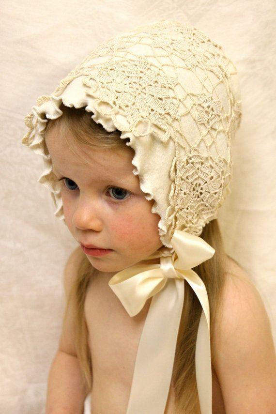 Vintage Crochet bonnet -- Baby bonnet, photo prop, infant, antique look bonnet,organic cotton hemp, baby hat, sun bonnet, white, ecru, fiber
