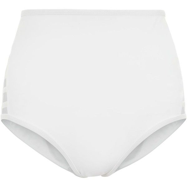White Lattice Side High Waist Bikini Bottoms (€15) ❤ liked on Polyvore featuring swimwear, bikinis, bikini bottoms, white two piece, white high waisted bikini bottoms, high rise bikini bottoms, swim bikini bottoms and high waisted two piece