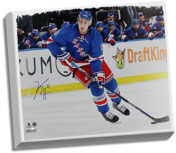 Kevin Hayes Signed Skating with Puck vs Devils 22x26 Canvas