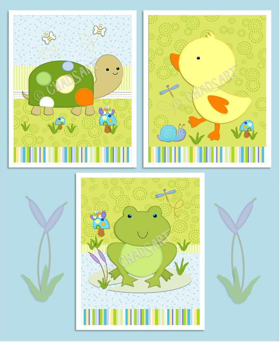 M2M TIDDLIWINKS In The Pond NURSERY Decor Set of 3 by Chadsart, $26.00