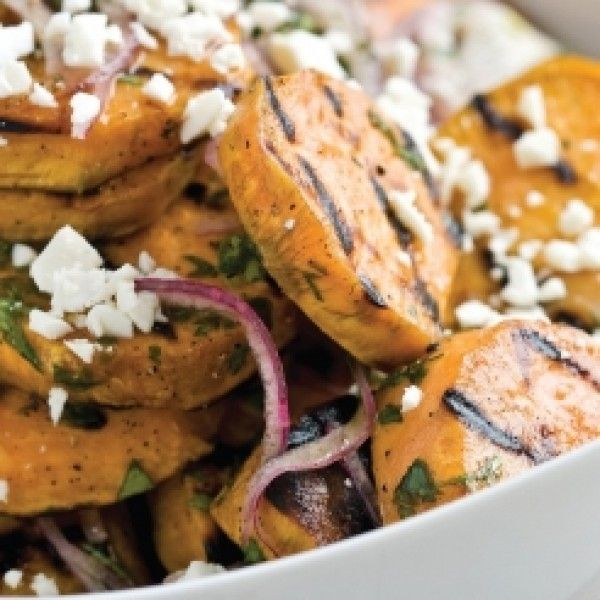 Looking for a new way to prepare sweet potatoes? How about grilling them? (If it's too cold outside, you can use an indoor grill or griddle). Grilled Sweet Potato Salad