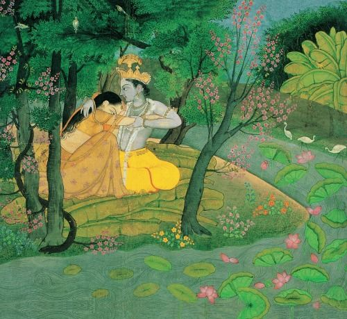 Radha and Krishna in the Grove, [detail], Pahari, Kangra, Punjab Hills, India, ca. 1780, gouache on pape