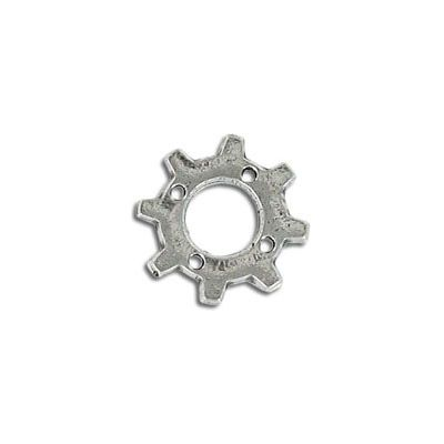 Connector, 18mm, gear, antique silver, lead free