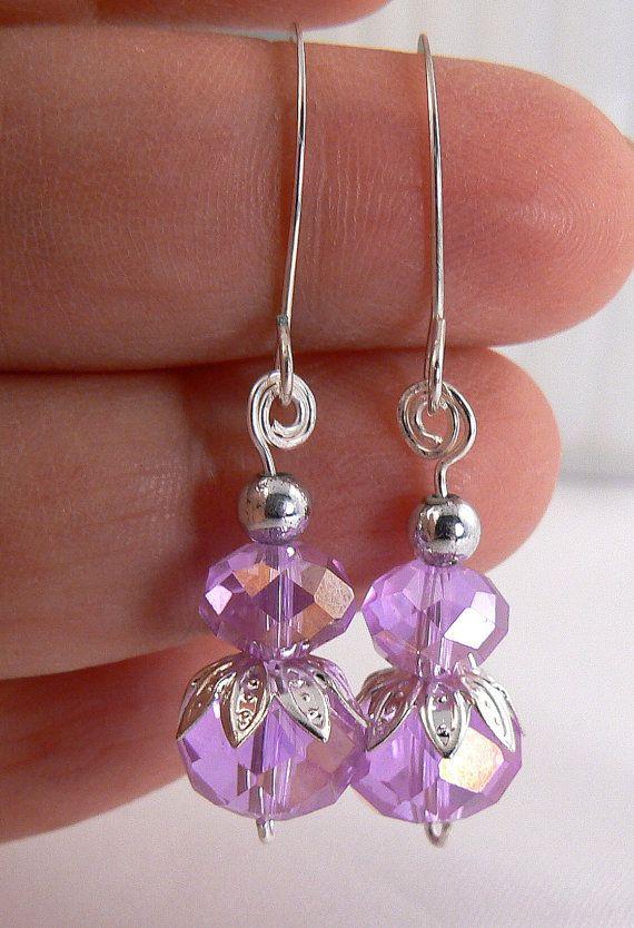 Luz pendiente de cristal púrpura lila pendiente Dangles luz