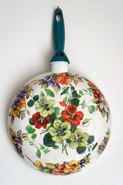 .painted fry pan..nasturtiums
