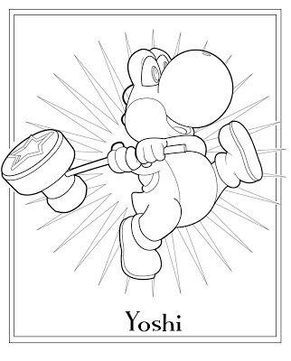 Free Printable Mario Coloring Sheet Yoshi For Kids