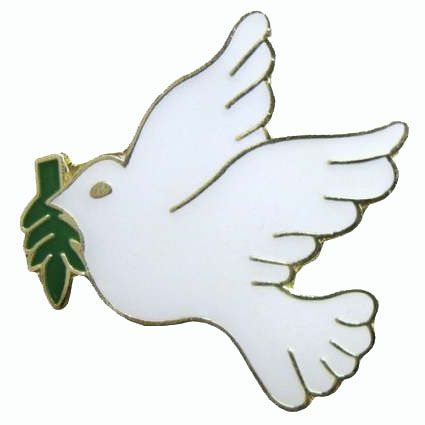 Peace Pin. White Dove holding olive branch pin. Golden and white 7/8 inches. The dove and the olive first appeared together in the biblical story of Noah's Ark. Peace symbol.  Great for non valiance marches.  As low as $1.29 each.