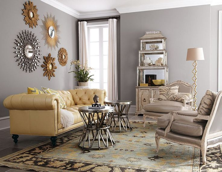Collection Of Sunburst And Starburst Mirrors Enlivens The Living Room  [Design: Horchow] Part 62