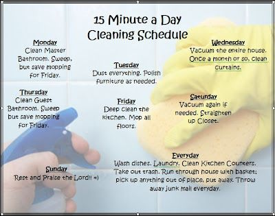 How To Keep Your House Clean In 15 Minutes A Day!! Cleaning Schedule