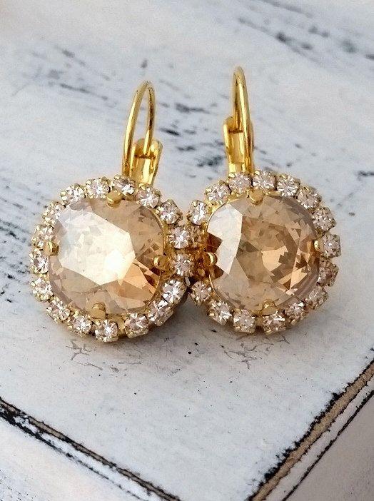 Champagne crystal earrings Drop earrings by EldorTinaJewelry | http://etsy.me/1FnC3Uj