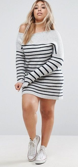 Plus Size Sweater Dress with Off Shoulder in Stripe